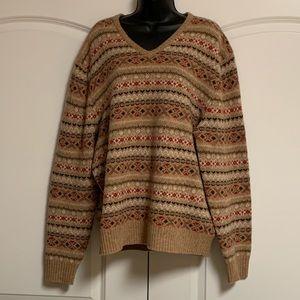 VTG Brown Red Wool Ski Icelandic Crew Sweater XL